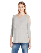 Three Seasons Maternity Women's 3/4 Open Shoulder Sleeve Solid Top