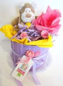 Torta di Pannolini DODOT con Peluche | Modello CICLAMINO | Personalizzabile con il Nome del Bebé | Nappy Cake | Baby Shower Gift Idea | Tono Rosa/Viola, Per Femminucce