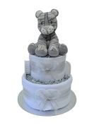 Cute 2 Tier Unisex Tiger Themed New Baby Nappy Cake Baby Shower Gift - FAST & FREE UK Delivery!