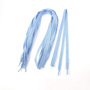 3 Pairs of Sparkling Diamond Pattern Wide Flat Shoelaces Light Blue for Adults