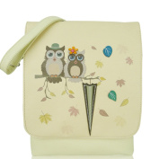 Beige Faux Leather Cross Body Bag with owls