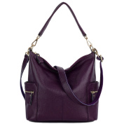 Yaluxe Women's Side Pocket Soft Genuine Cowhide Leather Handbag Hobo Style Shoulder Bag-Purple