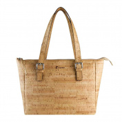 Corkor Vegan Handbag Satchel Women's - Top Double Handle - Peta Approved - Natural Rustic Cork