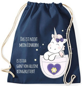 Jute bag Gym Bags Sports Bag Cloth bag Cotton bag with cord Gymsack Kangarooh Bag horn Unicorn cutie Pocket That is not mean Unicorn - navy
