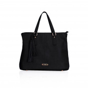 LYDC Black soft tote bag with tassle