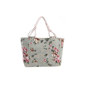 Florence Happy Green Roses Rope Tote Bag