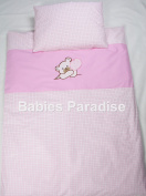Babies 2 Piece Baby Bedding Set with Bear Pattern Balloon Pink Cheque