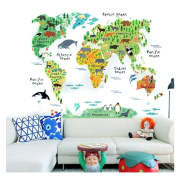 ODN Animals World Map Wall Decal Removable Art Sticker Kids Nursery Room Decor