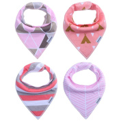 Storeofbaby Unisex Super Absorbent Pure Cotton Organic Drool Baby Bandana Bibs for Teething Shower Feeding Dribble 4-Pack