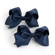 Pair of Girls Navy Ribbon Style Bow Hair Beak Clips Slides