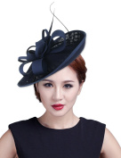 La Vogue Feather Fascinator Pillbox Hat Headpieces Bridal Wedding Hair Clip Headdress Navy Blue