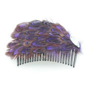Mytoptrendz® Purple and Brown Feather Fascinator with Black Side Hair Comb