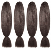 American Dream Brilliant Jumbo Kanekelon Braid for Hair Weaves, Dreads and Avant Garde Creative Styling, Mousey Brown, Pack of 4