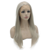 Long Straight Grey Blonde Natural Synthetic Lace Front Wig