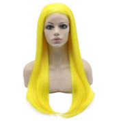 Long Straight Yellow Hand Tied Lace Front Cosplay Party Wig