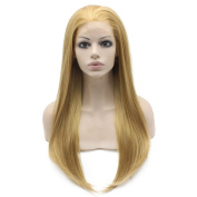 Long Straight Blonde Natural Hand Tied Lace Front Wig