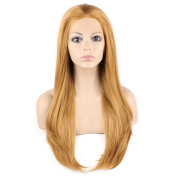 Long Straight Blonde Natural Lace Front Synthetic Hair Wig