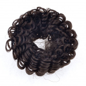 7.6cm Wide Brown Periwig Bun Pony Tail Holder Ring Elastic Toupee