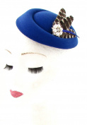 Royal Blue Brown White Feather Pillbox Fascinator Hat Headpiece Vtg Races 533 *EXCLUSIVELY SOLD BY STARCROSSED BEAUTY*