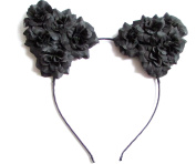Black Rose Flower Cat Animal Ears Headband Kawaii Pastel Goth Hair Band 1995 *EXCLUSIVELY SOLD BY STARCROSSED BEAUTY*