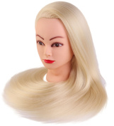 60cm Cosmetology Mannequin Heads Training Practise Styling Cutting Mannequin Head Blonde Hair Colour by Perfehair