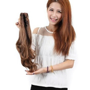 Sexy_Forever 18 Inch(46cm) Long Big Wavy Light Brown Claw Ponytail Clip in Hair Extensions One Piece Handy Jaw Pony Tail American Style Hairpiece