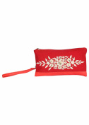 Pick Pocket red canvas wristlet with golden embroidery