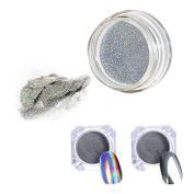 Mirror Powder holograpic rainbow \ Silver 2 Box 1g/Box Pigment Powder Chrome Pigment Nail Glitter Power Dust Nail Sequins