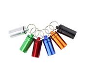 3PCS 20mm X 51mm Assort Colour Pill Box Keyring-Waterproof Aluminium Travel Pill Holder Keychain Portable Mini Pill Box Case Bottle Container