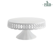 """la Porcellana """"Firenze"""" Carved Cake Plate with Stand Gift Box, White, 27 cm"""