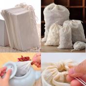 FomCcu 10Pcs Cotton Muslin Drawstring Reusable Bags for Soap Herbs Tea 8cm x10cm Large