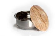 Shaving bowl stainless steel with wooden lid