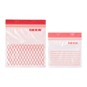 New Ikea ISTAD Red Plastic Freezer-safe Bag - 30 Bags (0.4 l, 15x15.5 cm) and 30 Bags (1 l, 18x21.5 cm) Total 60 Bags