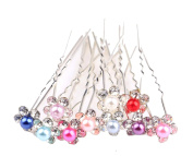 ILOVEDIY 10pcs Mixed Colour Crystal Hair Pins with Pearl Accessories for Buns Bridal Weddings