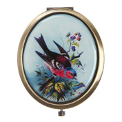 Vintage Small Classic Robin Bird Compact Pocket Hand Mirror