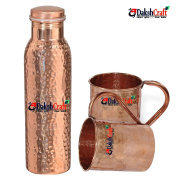 DakshCraft ® Copper Joint Free Hammered Bottle & Copper Long Hammered Moscow Mule Mugs, Set of 2