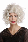WIG ME UP ® - 1352-ZA613 Wig Lady Women Halloween Carnival Hollywood Diva curly straightened middle-parting platinum blond