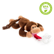 BabyHuggle Monkey Pacifier - Stuffed Animal Binky, Soft Plush Toy with Detachable Silicone Baby Dummy, Paci Clip Leash, Squeaky Sound. Teether Holder. Safe & Soothing Baby Shower Gift for Boys & Girls