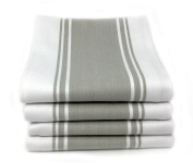 Kitchen Tea Towels By Cucinare 100% Cotton , Professional Grade, Finely Woven, Large, Absorbent with Vintage Stripe- Set of 4