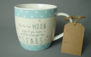 Aim for the Moon - Even if you miss you will be amongst the STARS ! Pink Blue and Cream Ceramic Mug Drinking Cup Coffee Tea
