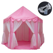 Baabyoo Kids Tent with Lights Child Play Tent 130cm x 140cm Prince and Princess Playhouse Magical Castle Kids Camping Boy and Girl Fairy House Mosquito Nets for Indoor/Outdoor Fun Baby Gift