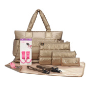 CiPU Baby Nappy Bag - Tote 9 Pieces Combo Set - Exclusive Gold
