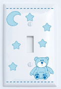 Blue Teddy Bear Light Switch Plate Single Toggle with Blue Moon and Stars / Teddy Bear Nursery Decor