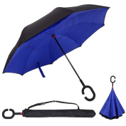 PINSV Double Layer Inverted Umbrella Reverse Folding Umbrella Windproof UV Protection Big Straight Umbrella for Car Rain & Sun Outdoor With C-Shaped Handle Travel Umbrella