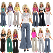 Barwa 20 items = Doll Clothes Outfit 5 Tops 5 Trousers Pants +10 Pair Shoes for Barbie Doll Random Style