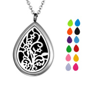 VALYRIA Tree of Life Teardrop Aromatherapy Perfume Essential Oil Diffuser Necklace Locket with Engraving