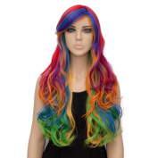 Netgo Colourful Rainbow Costume Wig Long Wavy Lolita Wig for Cosplay Halloween Party