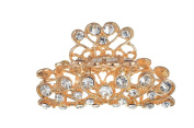 Gold Diamante Hair Claw Clip Grip Pink Crystal Bridal Party Prom New