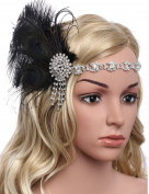 BABEYOND Women's Peacock Headband Womens Crystal Headband Feather Headband Flapper Headbands 1920s