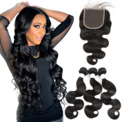 Body Wave Brazilian Human Hair Extention with 4x 4 Free Part Lace Closure Brazilian Virgin Hair Weave Natural Black 3 Bundles human hair with Lace Closure 100g/bundle